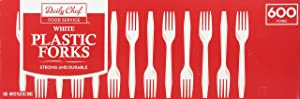 Daily Chef White Plastic Forks,, 600 Count (Pack of 36)