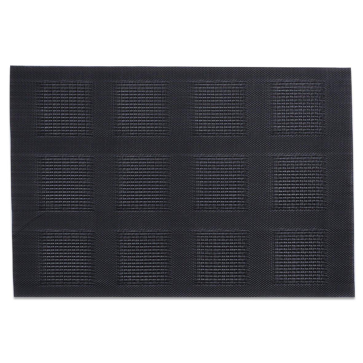 Zeller 26721 - Juego de 4 manteles individuales, PVC, 45 x 30 cm, color: Negro 99312