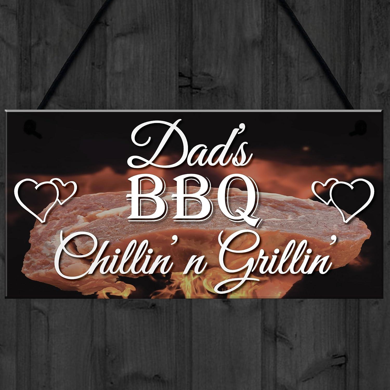 Rojo Ocean Chillin n Grillin Hanging Plaque Dad s barbacoa cobertizo jardín cocina señal día del padre regalo: Amazon.es: Hogar