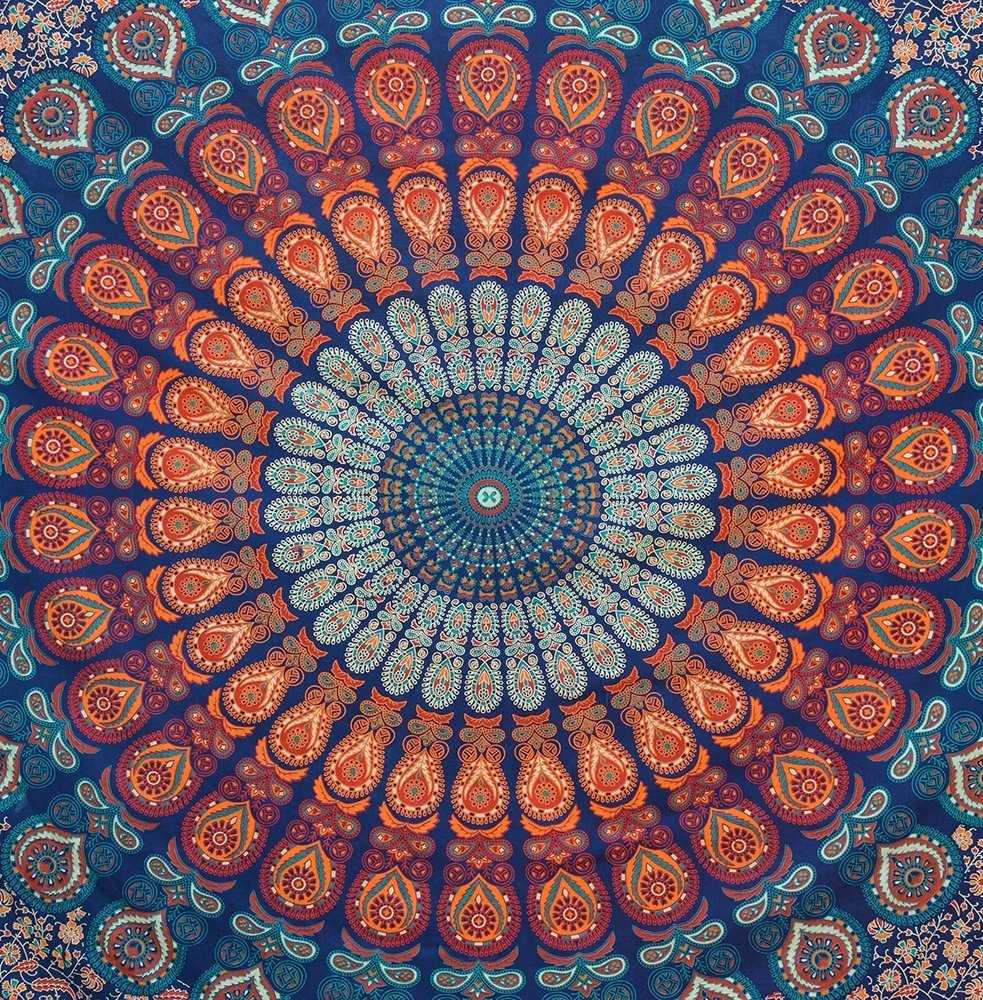 Bless International Indian hippie Bohemian Psychedelic Peacock Mandala Wall hanging Bedding Tapestry (Golden Blue, Queen(84x90Inches)(215x230Cms)) by Bless International