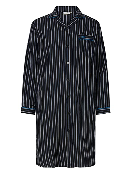 Walker Reid Mens Striped Nightshirt 100% Cotton Button Up Traditional  Nightwear (Black or Red)  Amazon.co.uk  Clothing a41abfdb0