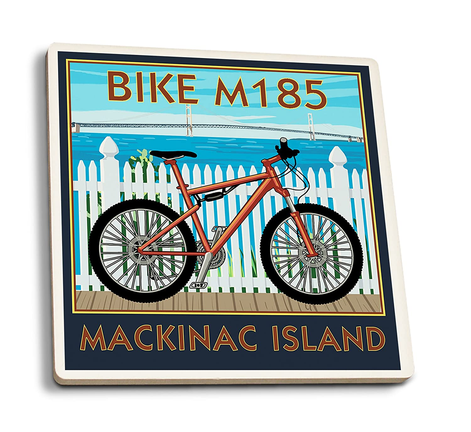 Mackinac島、ミシガン州 – Mountain Bikeシーン 4 Coaster Set LANT-81237-CT 4 Coaster Set  B079YJN6CK
