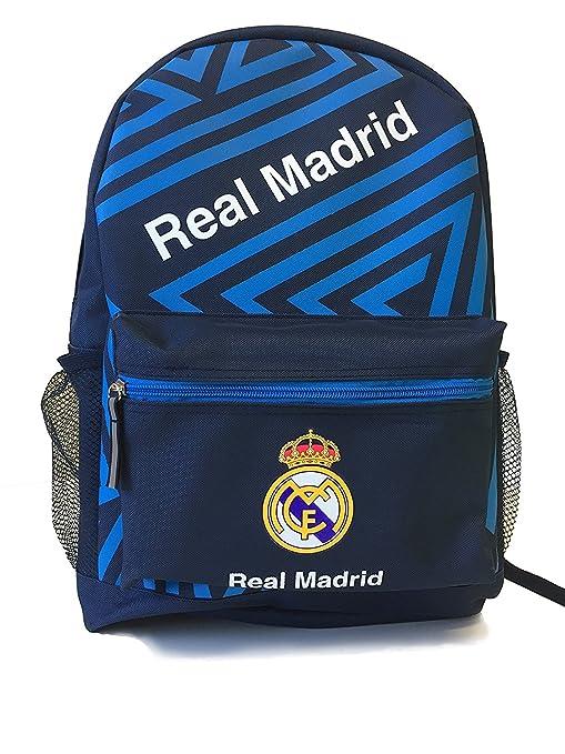 Real Madrid Mochila Escuela Mochila Bookbag no producto con licencia oficial bola bolsillo azul azul