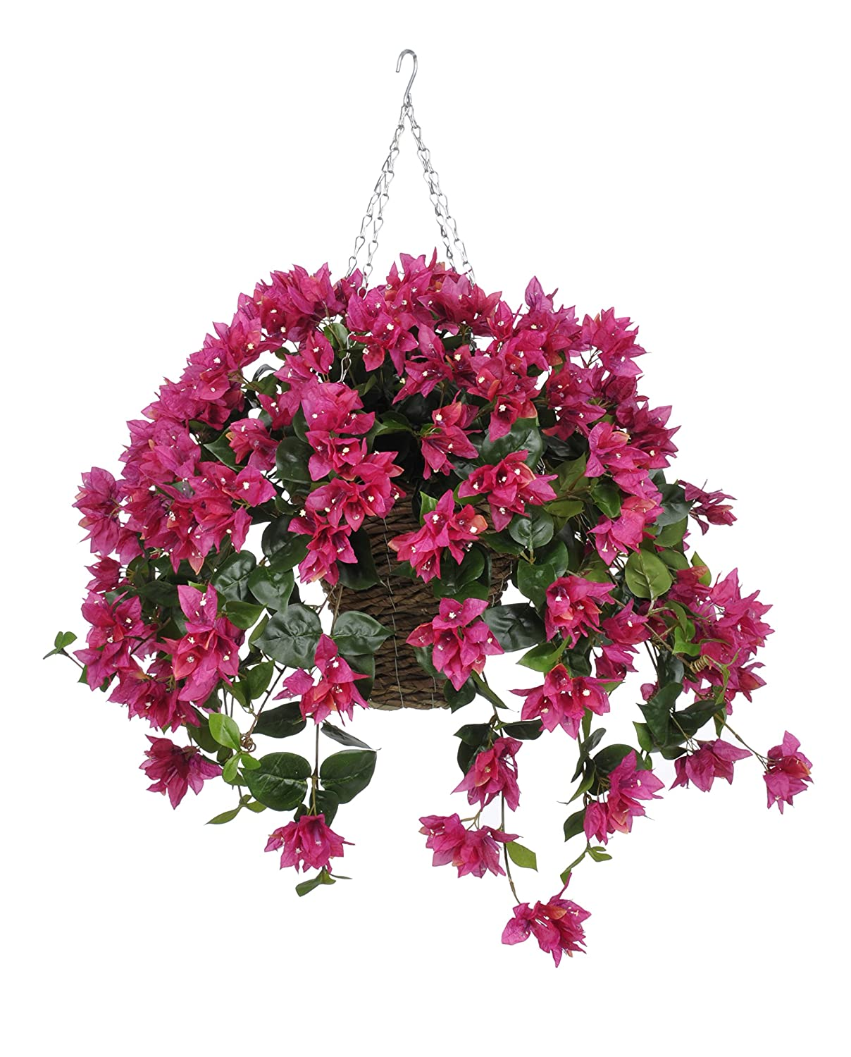人工Bougainvillea Hanging Plant in Square Basketフラワーカラー: Fuchsia B00WTF3GA0