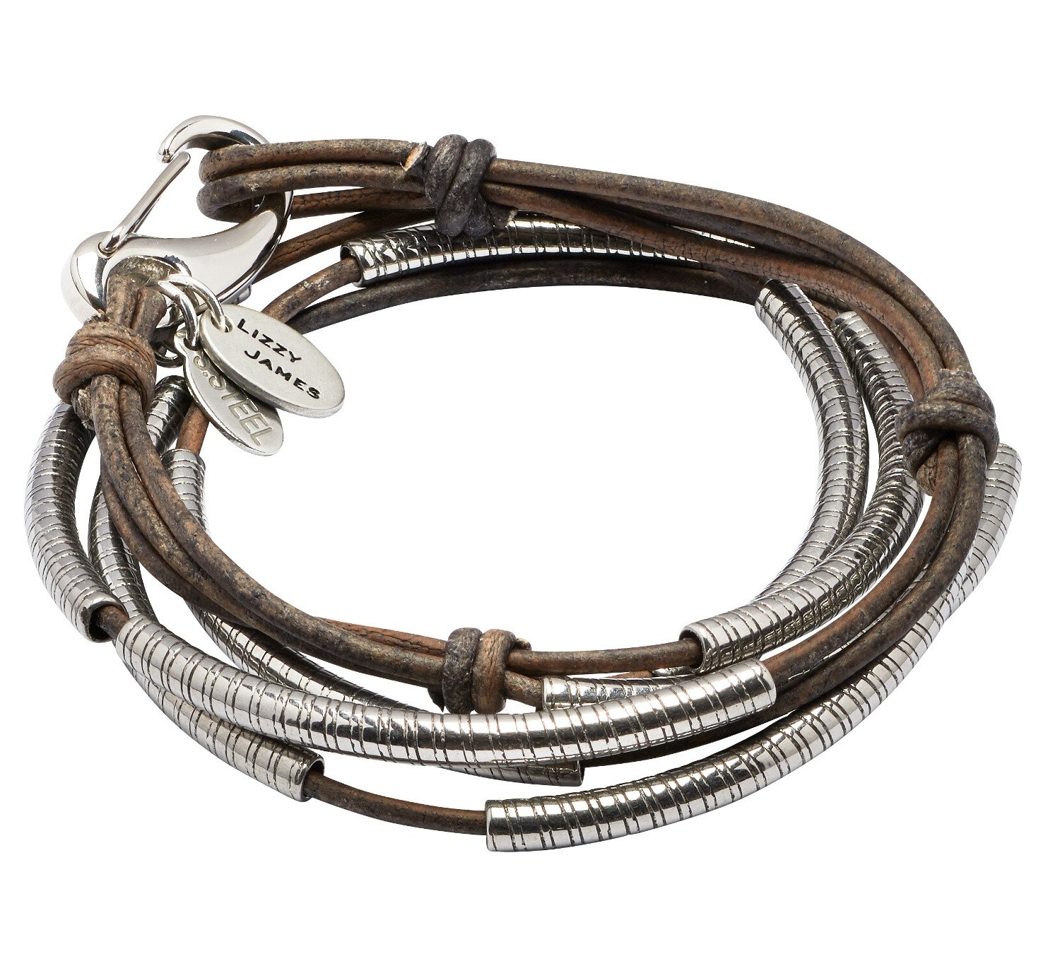 Mini Rebar 3 Strand with Stainless Steel Clasp Medium Bracelet With Natural Brown Grey Leather by Lizzy James