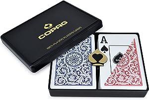Copag 1546 Design 100% Plastic Playing Cards, Bridge Size Jumbo Index Red/Blue Double Deck Set