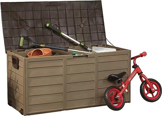 Caja de almacenamiento de plástico para jardín, contenedor baúl ...