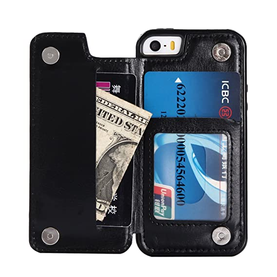 size 40 73375 893c3 Cmeka Wallet Case for iPhone SE/iPhone 5S/iPhone 5,Slim Protective Case  with Credit Card Slot Holder Flip Folio Soft PU Leather Magnetic Closure  Cover ...