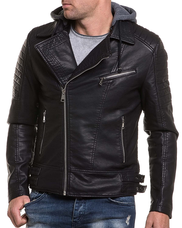 BLZ jeans - black faux leather jacket man perfecto effect