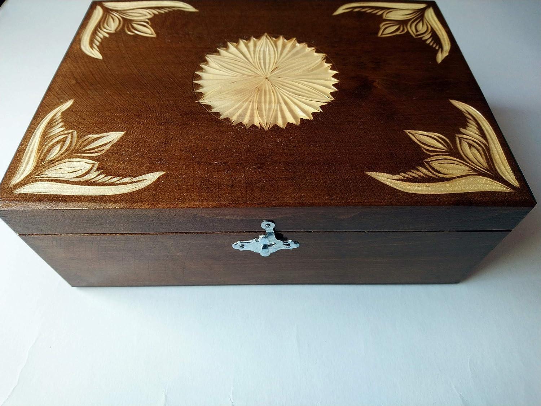Nueva marrón caja de almacenamiento de joya de madera tallada a ...