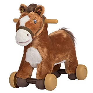 Rockin' Rider Peanut Rolling Pony Plush, Brown