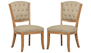 "Stone & Beam Bergen Tufted Dining Chairs, 38.6""H, Set of 2, Hemp"