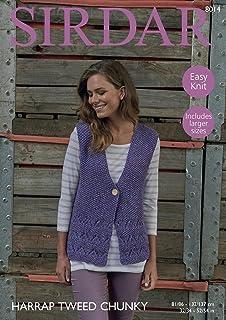 d15005e861260 Sirdar 8014 Knitting Pattern Womens Easy Knit Waistcoat in Sirdar Harrap  Tweed Chunky