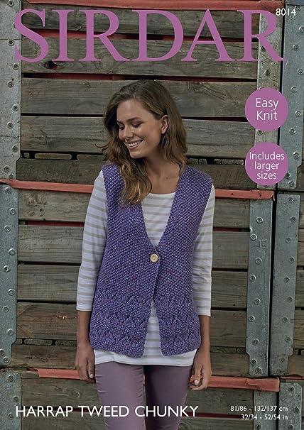 Sirdar 8014 Knitting Pattern Womens Easy Knit Waistcoat In Sirdar