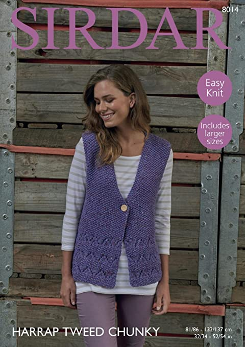 f659d868e Sirdar 8014 Knitting Pattern Womens Easy Knit Waistcoat in Sirdar Harrap  Tweed Chunky  Amazon.co.uk  Kitchen   Home