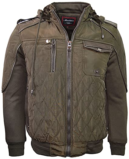 8c065f26a1b Maximos Men s Bomber Fleece Lining Jacket Full Zip Diamond Quilted With Zip  Hood 1699C Olive Brown at Amazon Men s Clothing store