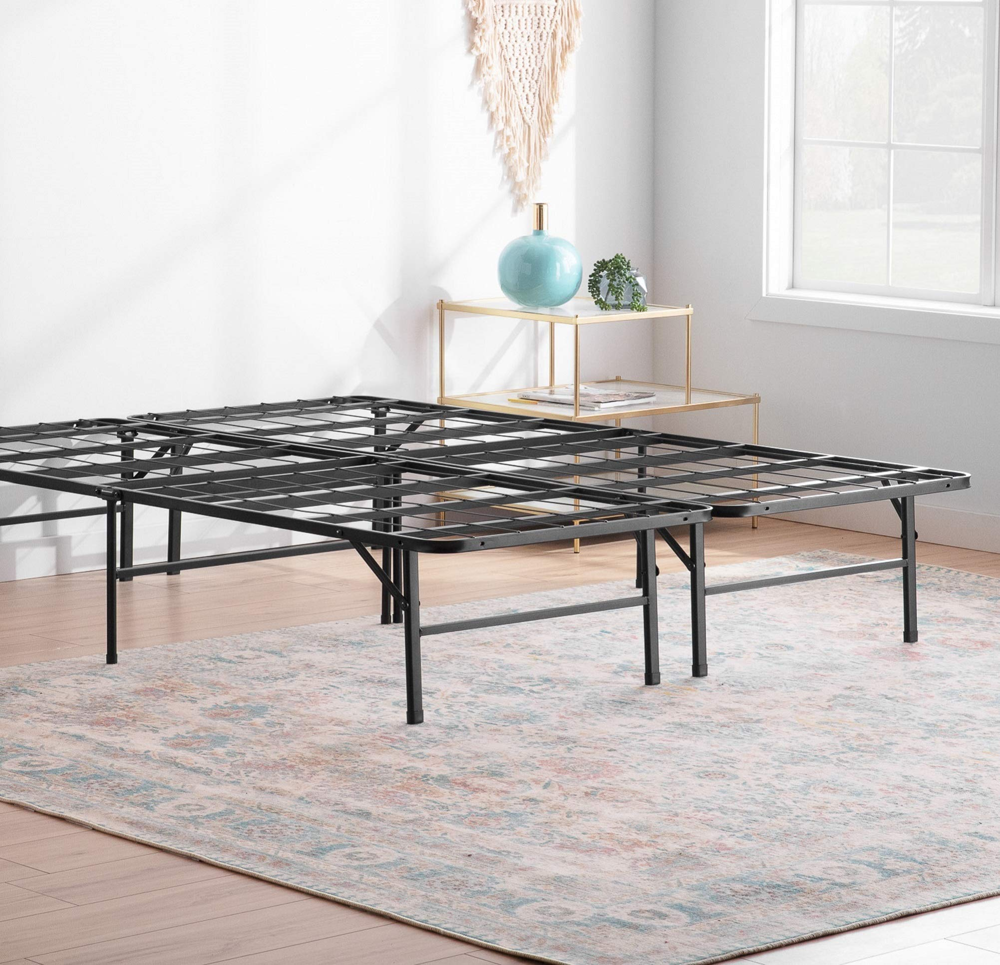 Linenspa 14 Inch Folding Metal Platform Bed Frame - 13 Inches of Clearance - Tons of Under Bed Storage - Heavy Duty Construction - 5 Minute Assembly - Cal King