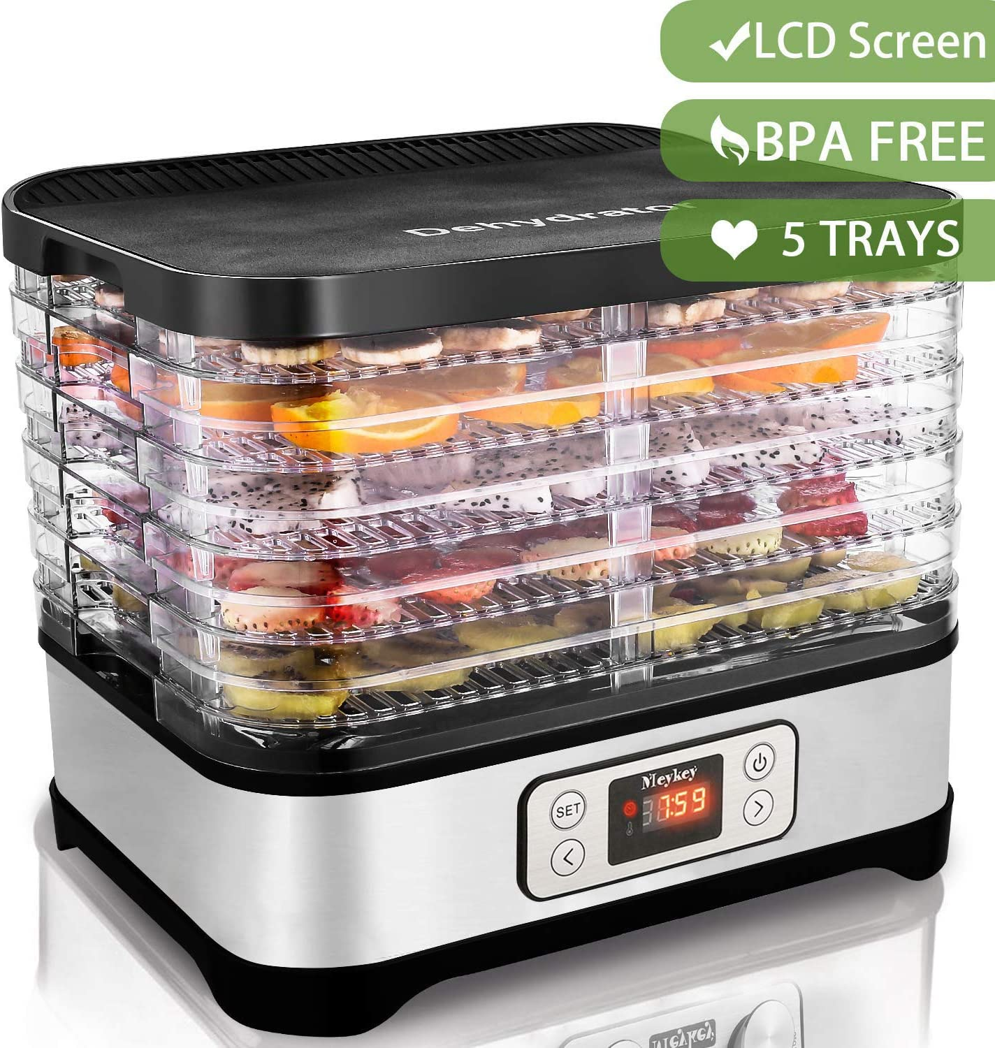 Electric Food Dehydrator Machine with 5 BPA Free Trays, Digital Timer and Temperature Control for Beef Jerky, Fruit Leather, Herbs