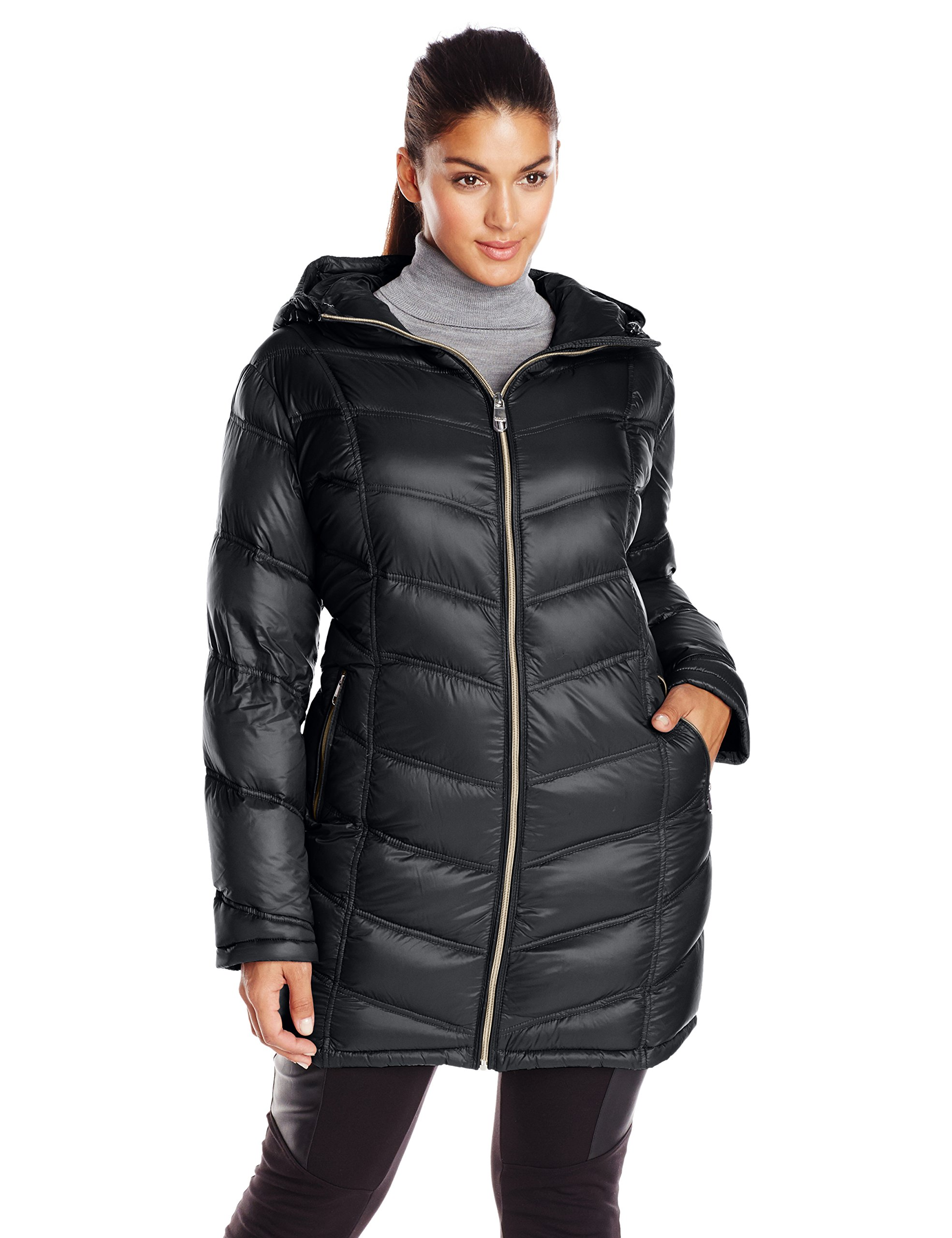 Calvin Klein Women's Plus-Size Packable Down Coat, Black, 3X
