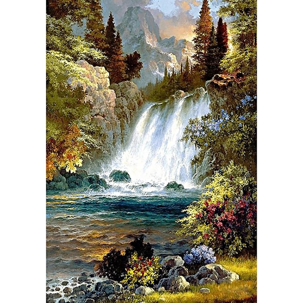 RoadSight DIY 5D Diamond Painting By Number Kit, Full Drill Waterfall Rhinestone Embroidery Cross Stitch Supply Arts Craft Canvas Wall Decor (A, 30X40CM)