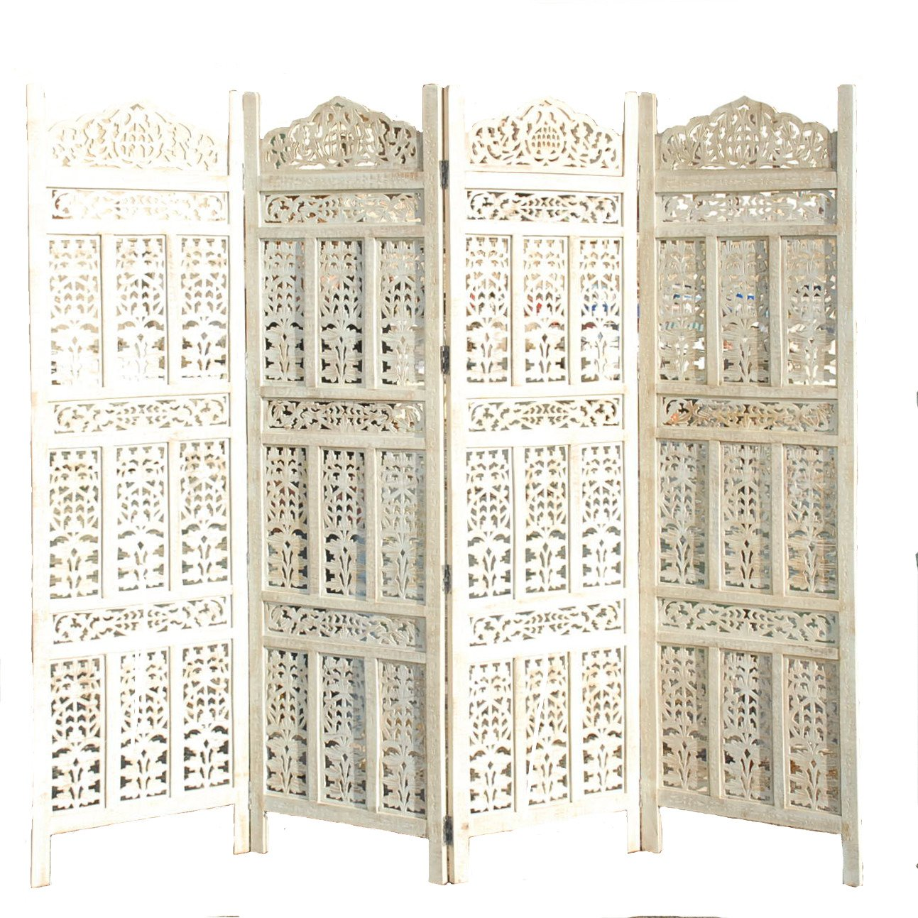 11IMPORTEXPORT.COM 4 PANEL SCREEN ROOM DIVIDER WOOD PARAVENT 183x50 CM PER PANEL 202 CM WIDE OPEN DESIGN INDIAN HAND CARVED WOODEN KW