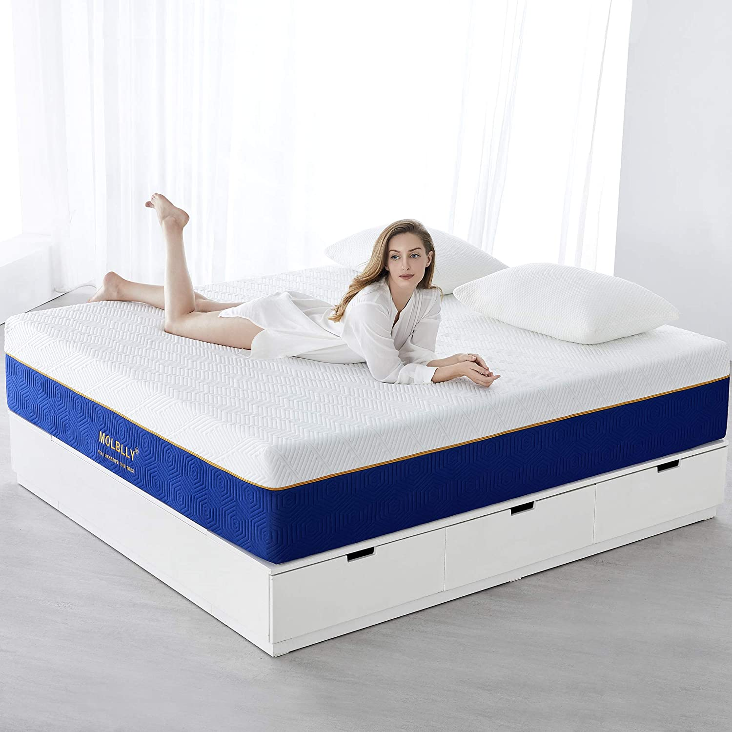 Molblly Queen Mattress, 14 inch Gel Memory Foam Mattress with Breathable Knitted Cover, Bed Mattress in a Box