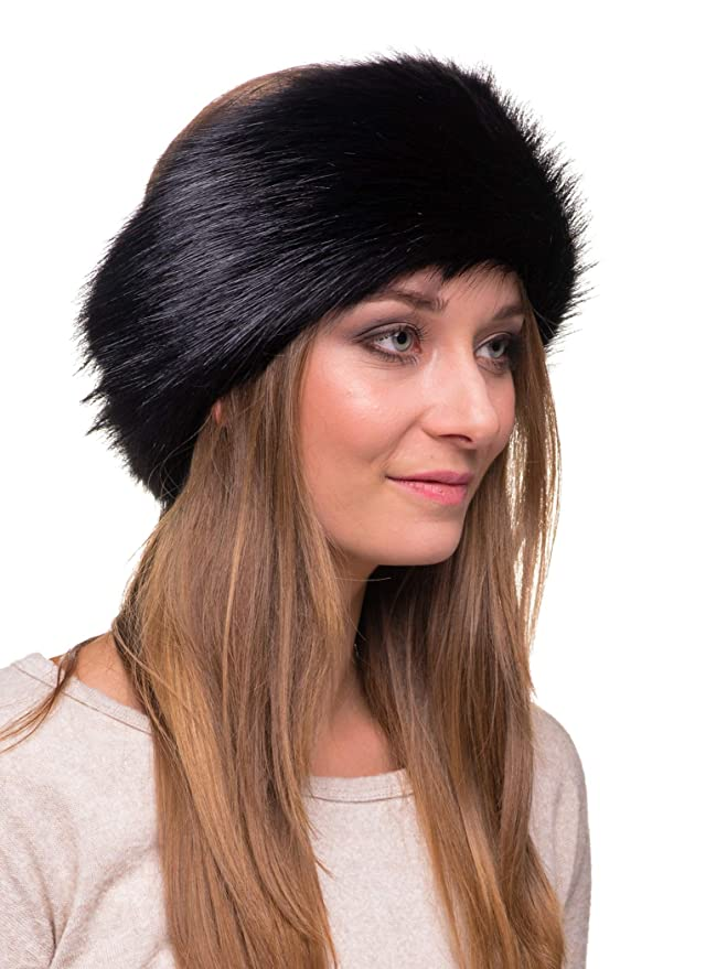 Futrzane Winter Faux Fur Headband for Women and Girls (Black) at Amazon  Women s Clothing store  Cold Weather Headbands 3f1d2a3fd684
