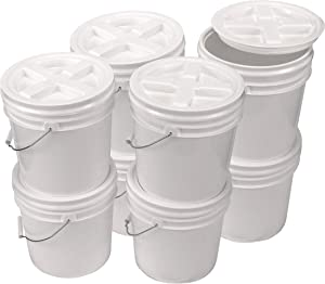 Bucket Kit, Eight White 2 Gallon Buckets with White Gamma Seal Lids