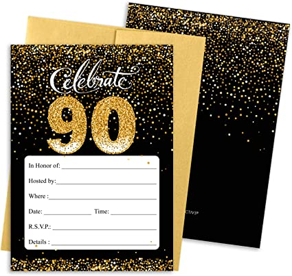 Black And Gold 90th Birthday Party Invitations 10 Cards With Envelopes