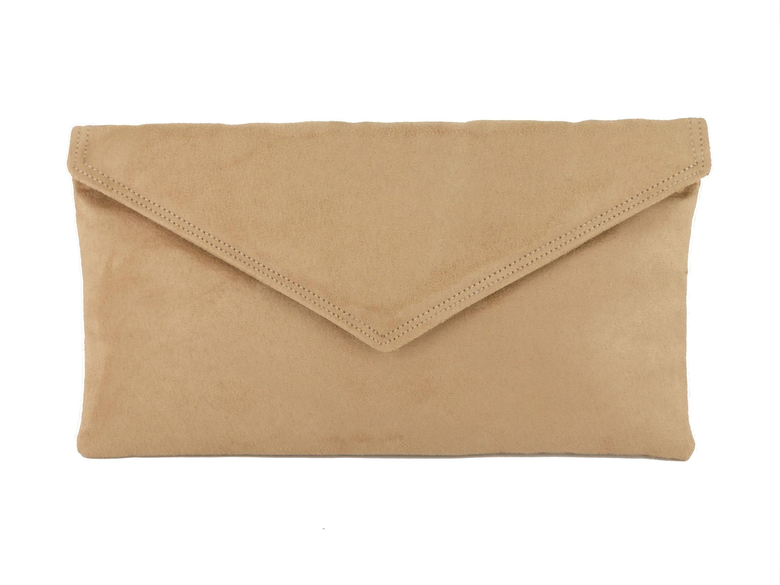Loni Womens Neat Envelope Faux Suede Clutch Bag/Shoulder Bag in Camel Beige
