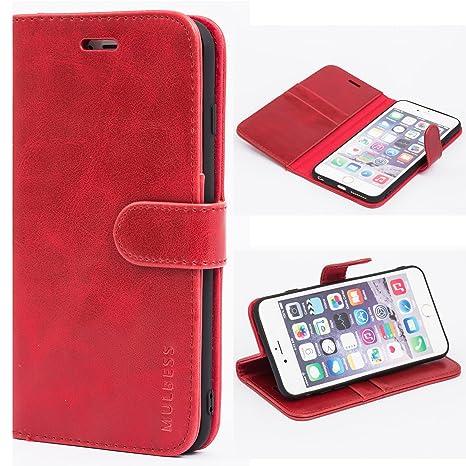 Mulbess Ledertasche im Ständer Book Case / Kartenfach für Apple iPhone 6 / 6S Plus (5,5 Zoll) Tasche Hülle Leder Etui,Wine Ro