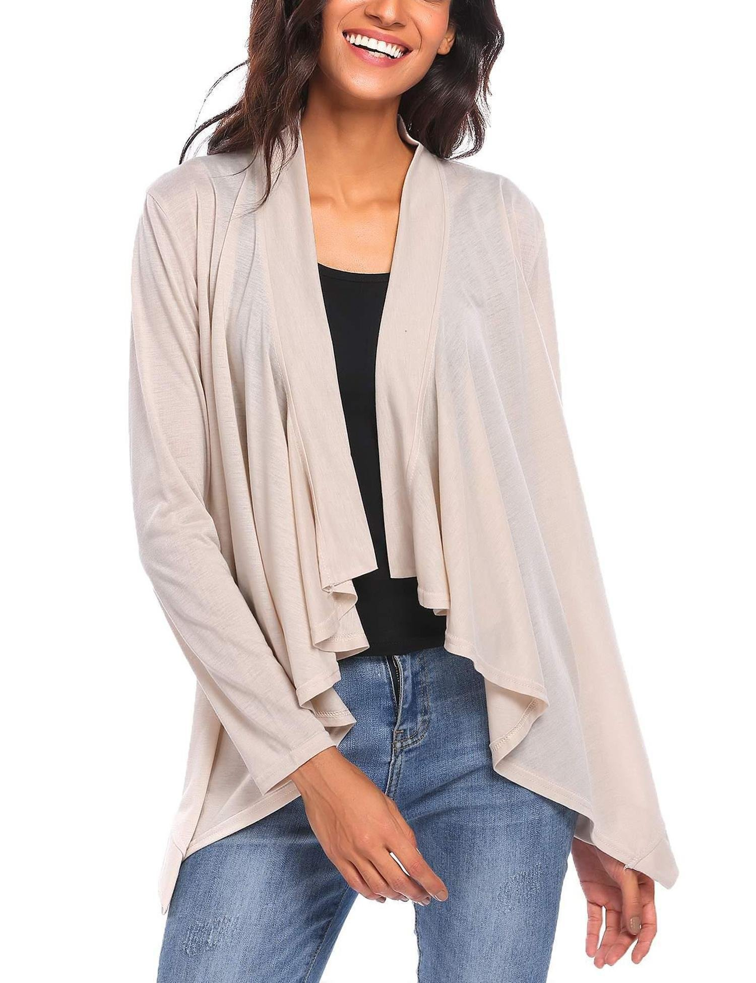Pagacat Women's Open Front Long Sleeve Summer Pluse Size Casual Cardigan (Beige, XL)