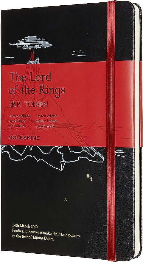 Moleskine - Cuaderno El Señor de los Anillos Edición Limitada, Tapa Dura, Goma Elástica y Páginas con Rayas, El Señor de los Anillos, Tamaño Grande 13 ...