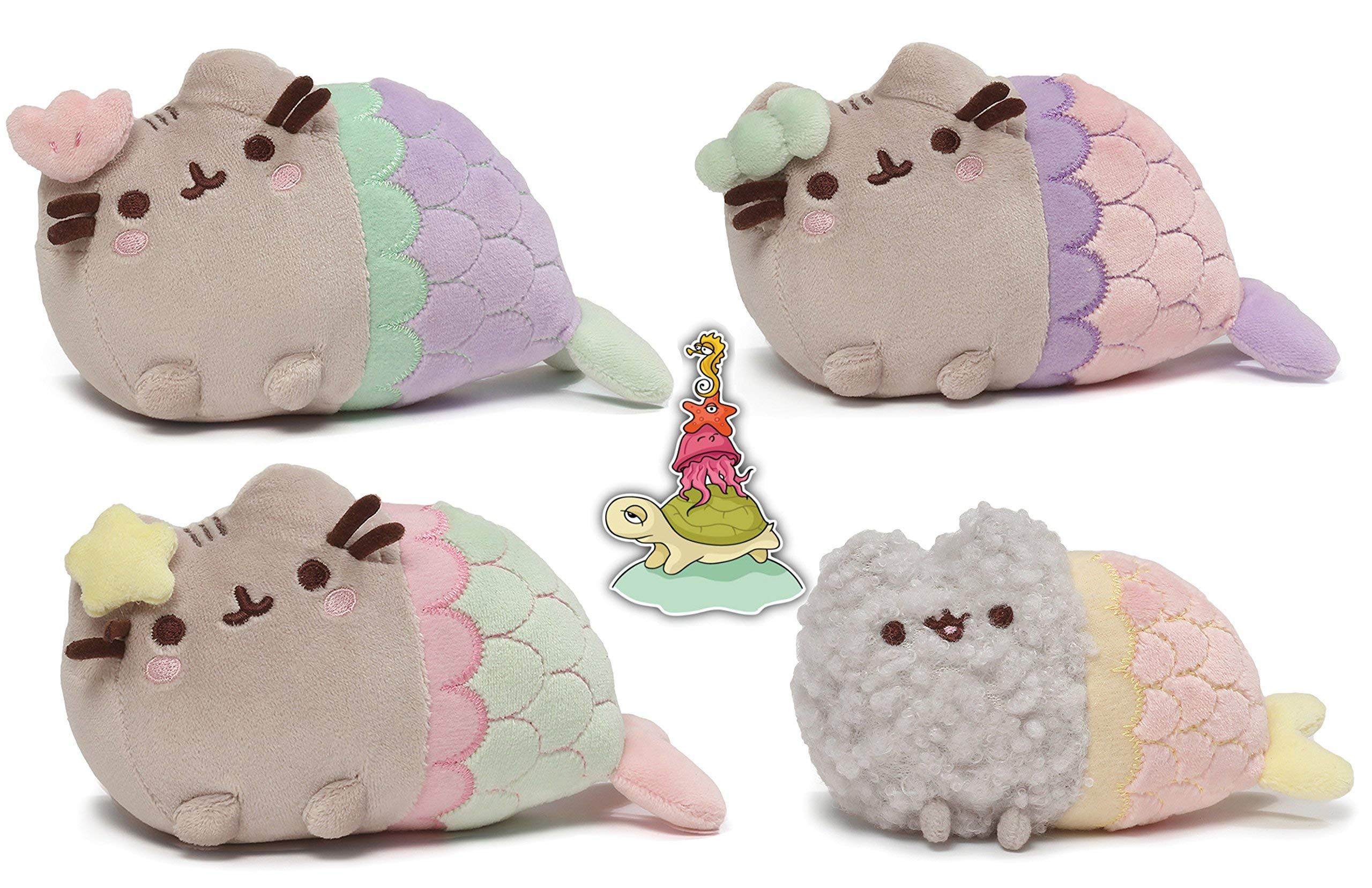 Gund Pusheen the Cat and Stormy as Mermaids with Pastel Pink, Purple, and Green Tails and Siral, Clam, and Star Shells Collector's Set of 4 Plush Toys with Sea Animals Sticker by GUND