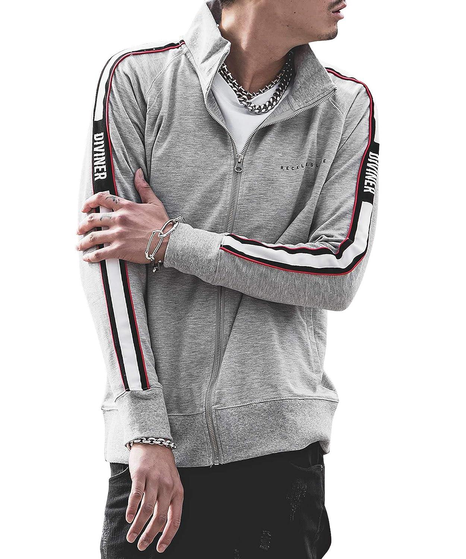 f691dce09b01e Amazon | ディバイナー(DIVINER) 袖ラインスタンドZIPジャケット メンズ アウター ジャケット ジャージ | コート・ジャケット 通販