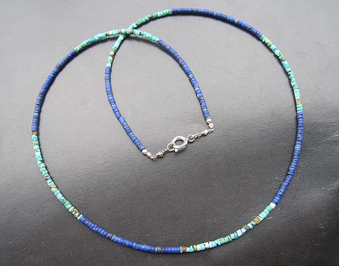 Afghan Turquoise seed beads Necklace Afghan Lapis lazuli seed beads Necklace 925 Sterling silver Clasp,Custom size 15,16,17,18,20,22,24