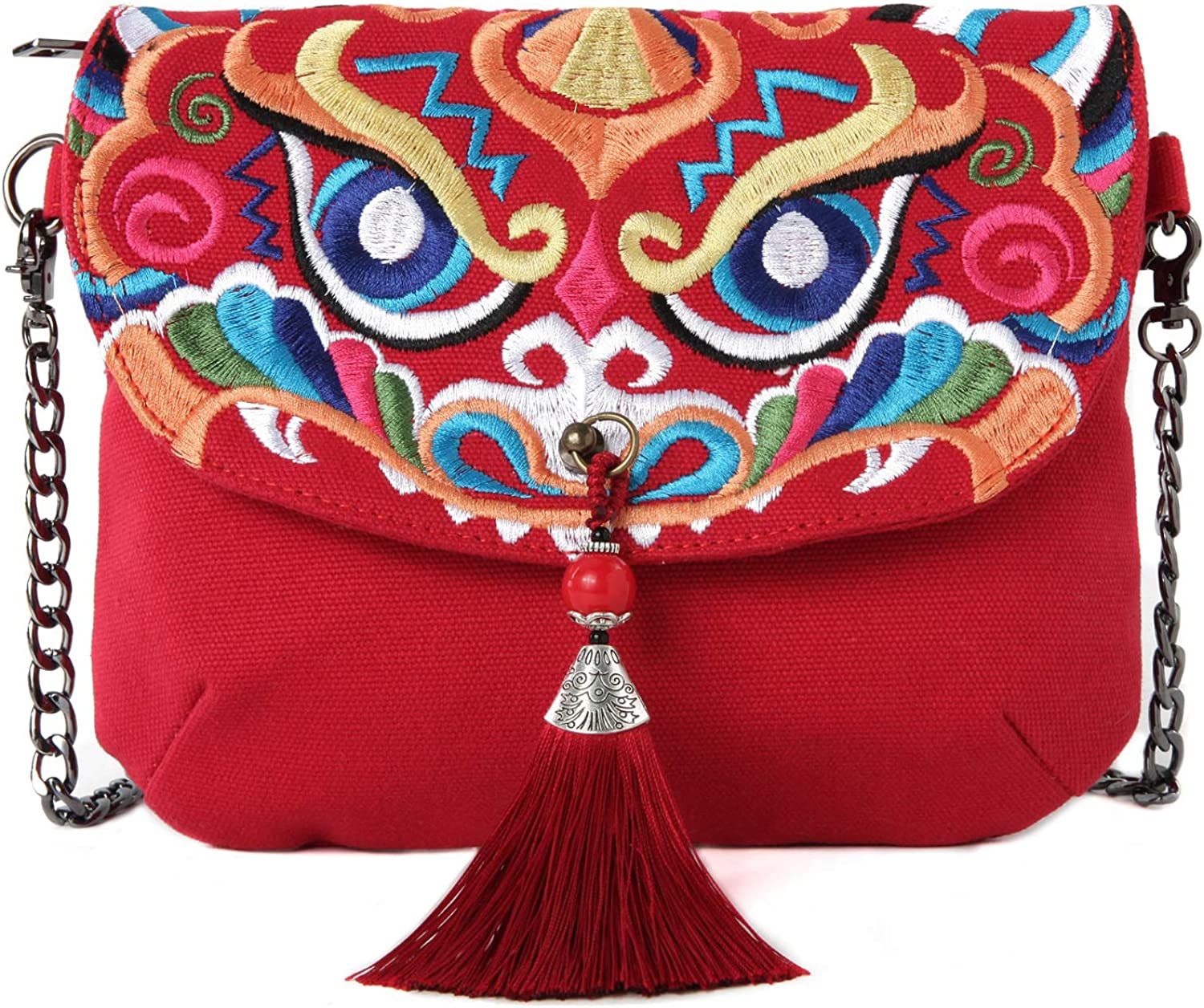 Embroidered Canvas Crossbody Bag, Multi-Pockets Flap Should Bag Cell Phone Purse Wallet Bags