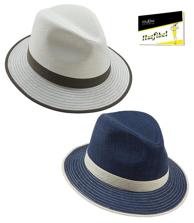EveryHead Fiebig Ladies Hat Fabric Summer Coneflower Panama Fedora Fashion  Brand with Contrasting Band for Women (FI-11127-S18-DA3) Incl Hutfibel  ... 4bc852405a58