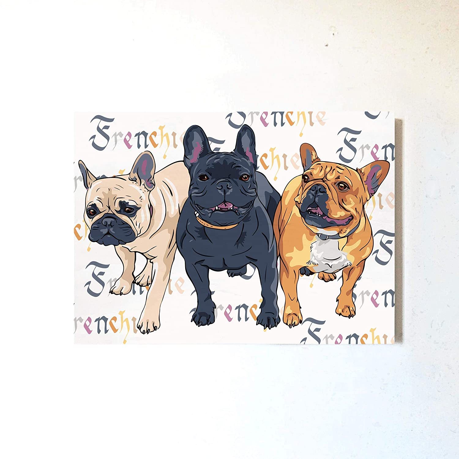 French Bulldog Home Wall Art Decor Printed Dogs On Wood Block Hanging Panel For Living Kids Nursery Room Funny Frenchie Indoor Decoration Handmade Amazon Com