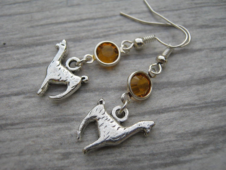 Animal Earrings Personalized Alpaca Earrings Llama Birthstone Earrings Farm Country Earrings