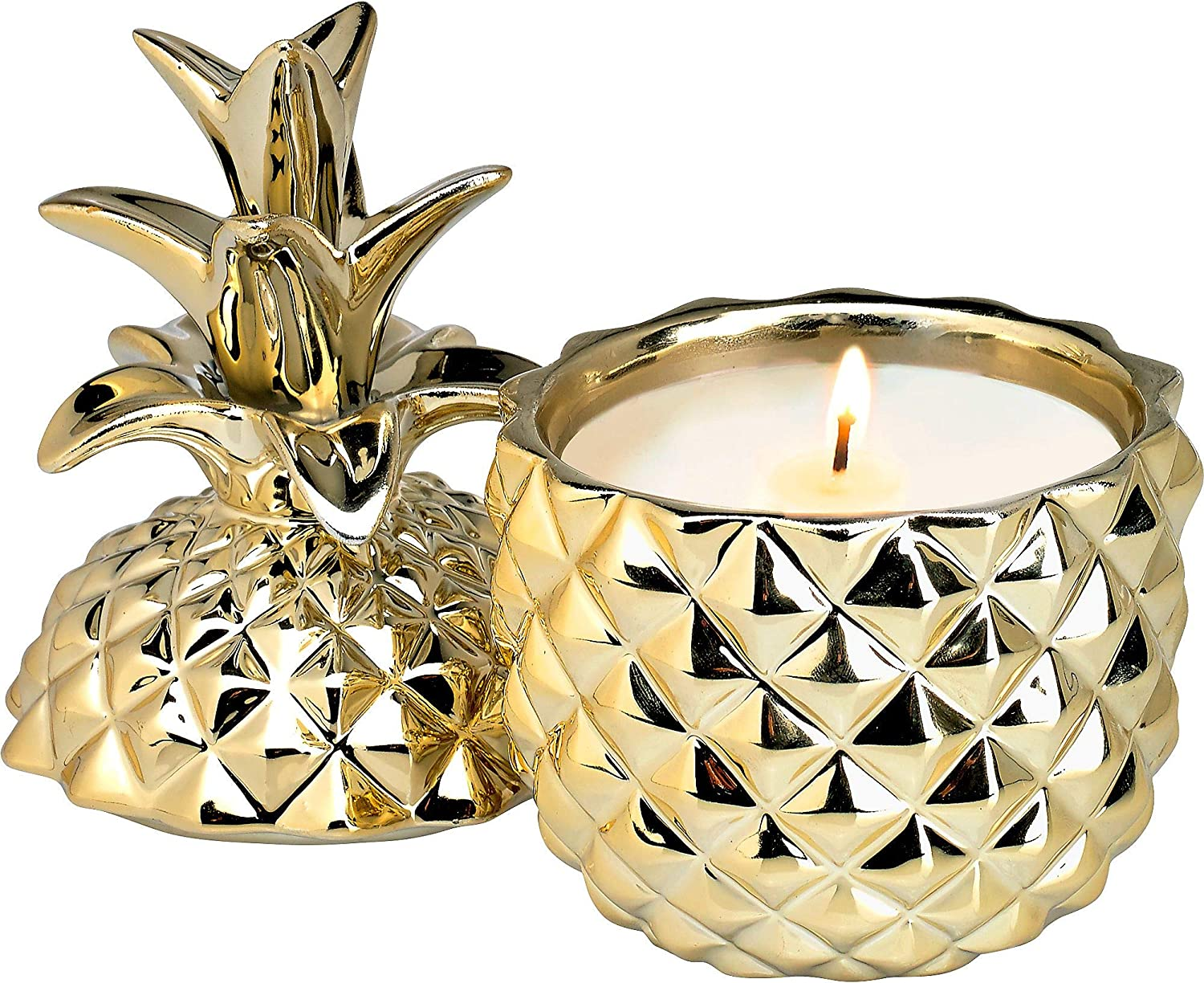 Home Locomotion 12010878 Golden Ceramic Pineapple Candle, Multicolor