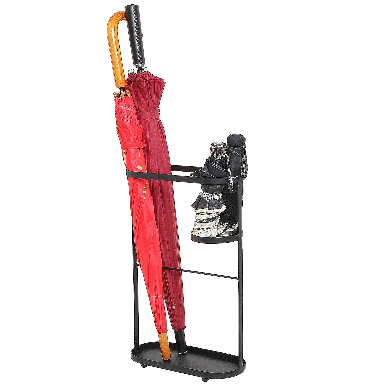 Entryway Freestanding Black Metal Long Umbrella & Short Folding Umbrella Holder Stand Rack - MyGift SPOMHNK3785