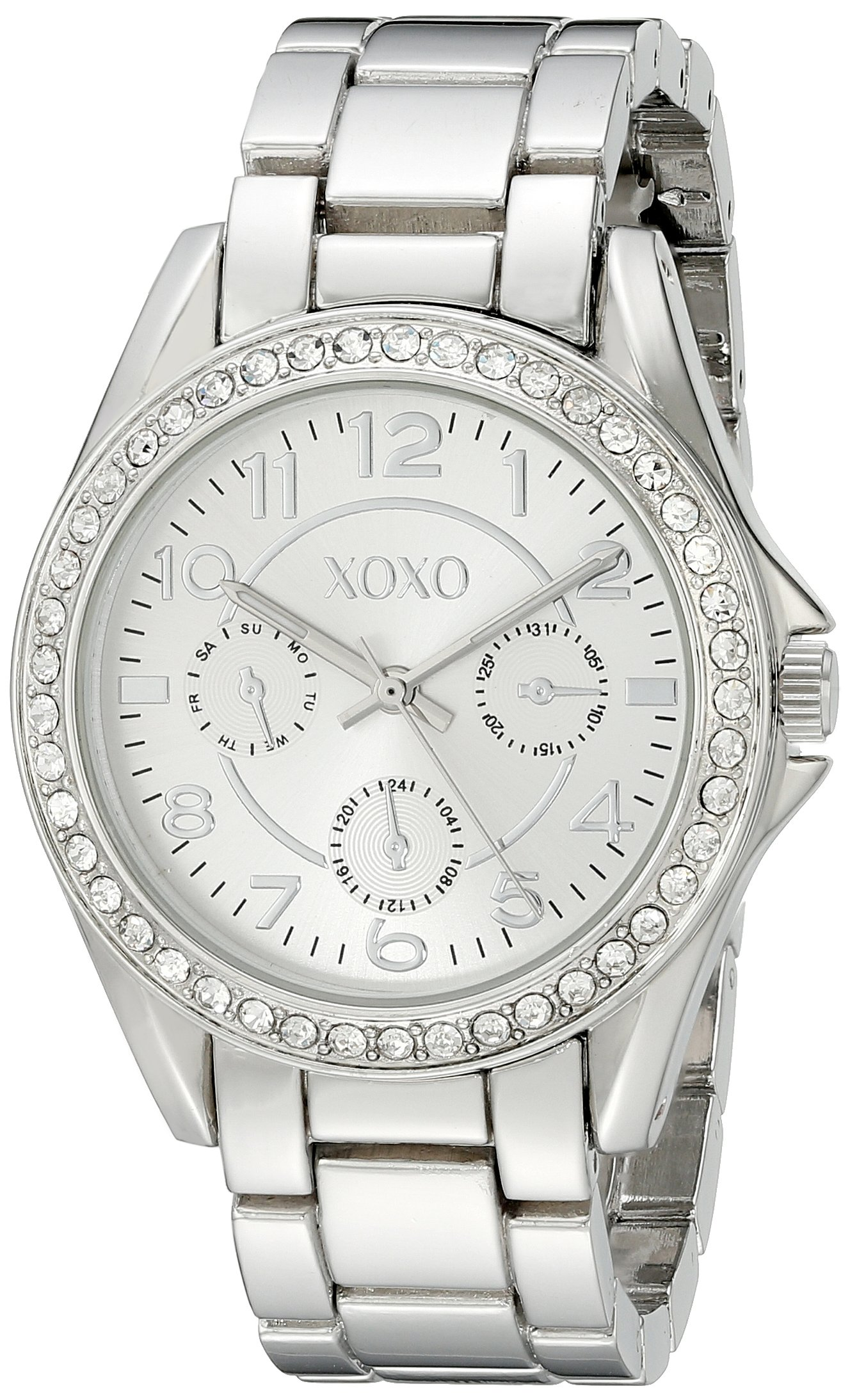 Xoxo women 39 s xo172 rhinestone accented silver tone boyfriend watch ebay for Watches xoxo