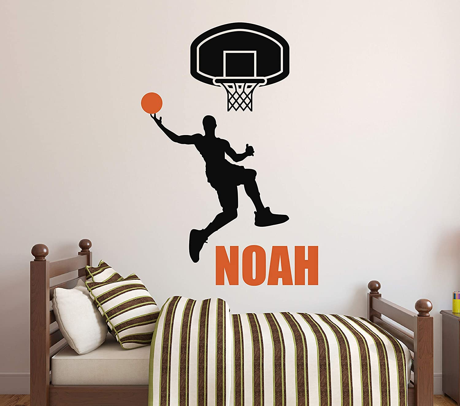 Personalized Name Basketball Wall Decal - Basketball Player Wall Decor Nursery Bedroom Kids Art Mural Vinyl Sticker (22