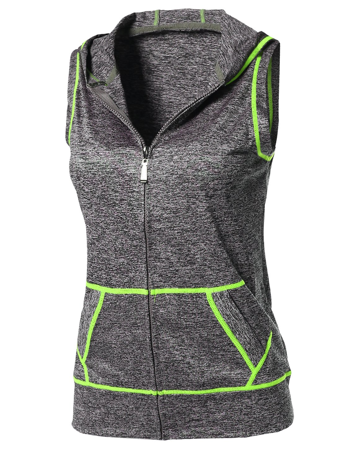 Made by Emma Sports Yoga Workout Training Stretch Hooded Zipper Vest Neon Yellow LXL Size