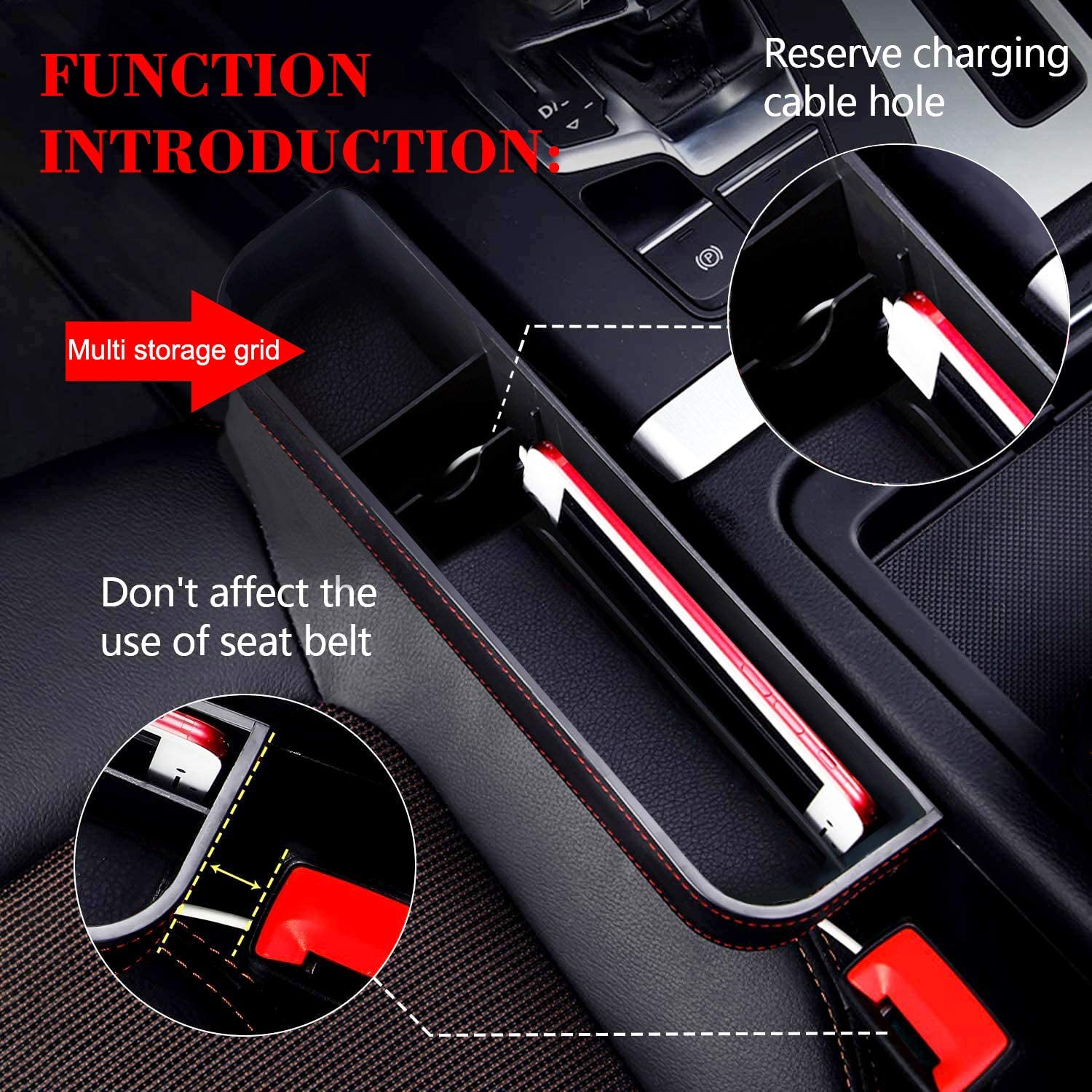 MAIALOT Car Seat Gap Organizer PU Leather Front Car Seat Gap Filler with Elasticity Bow Board Multifunctional Car Pocket Black Seat Console Organizer For Cell phone Coins Keys Sunglasses