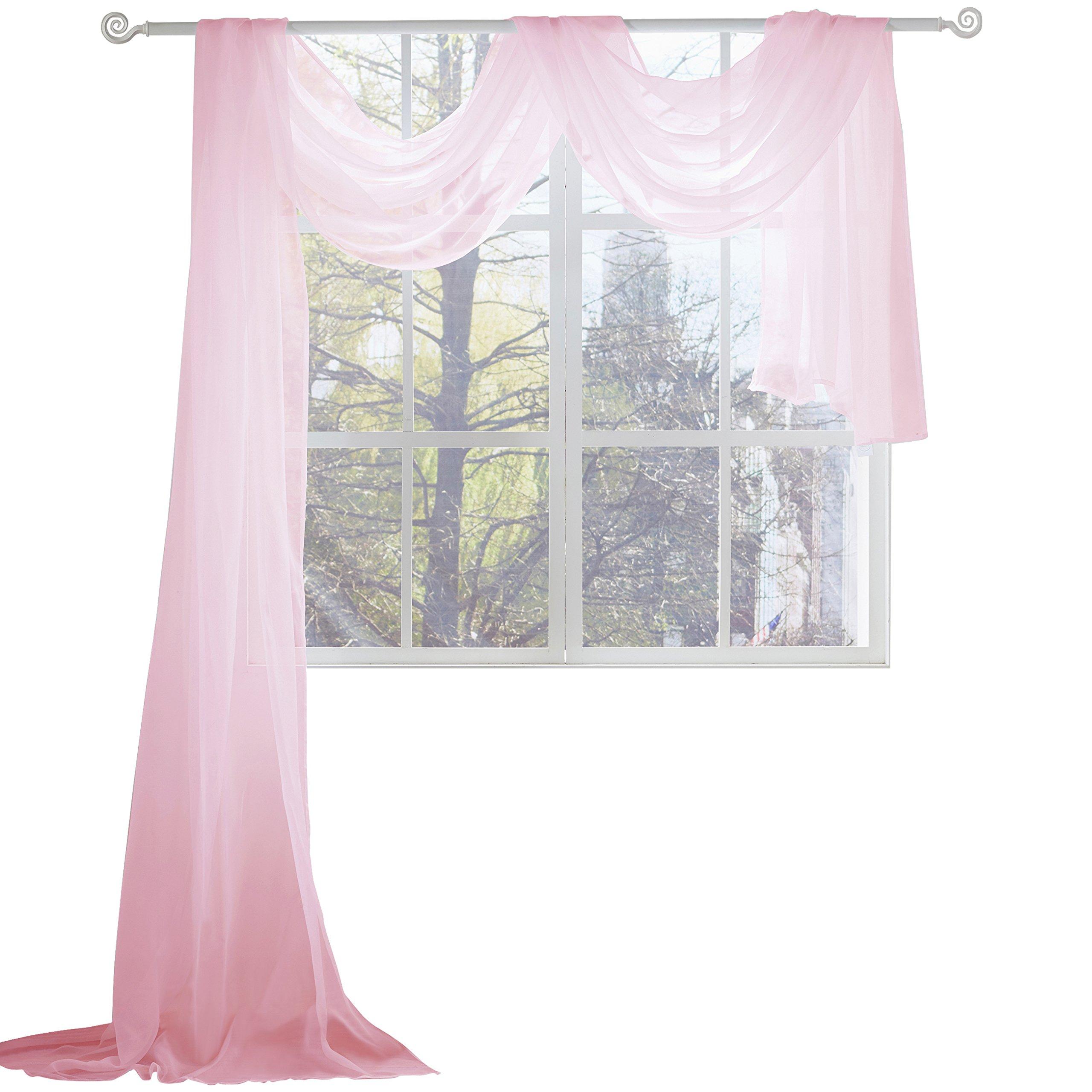 KEQIAOSUOCAI Pink Sheer Window Scarf-Valance,52''x216'',Pink