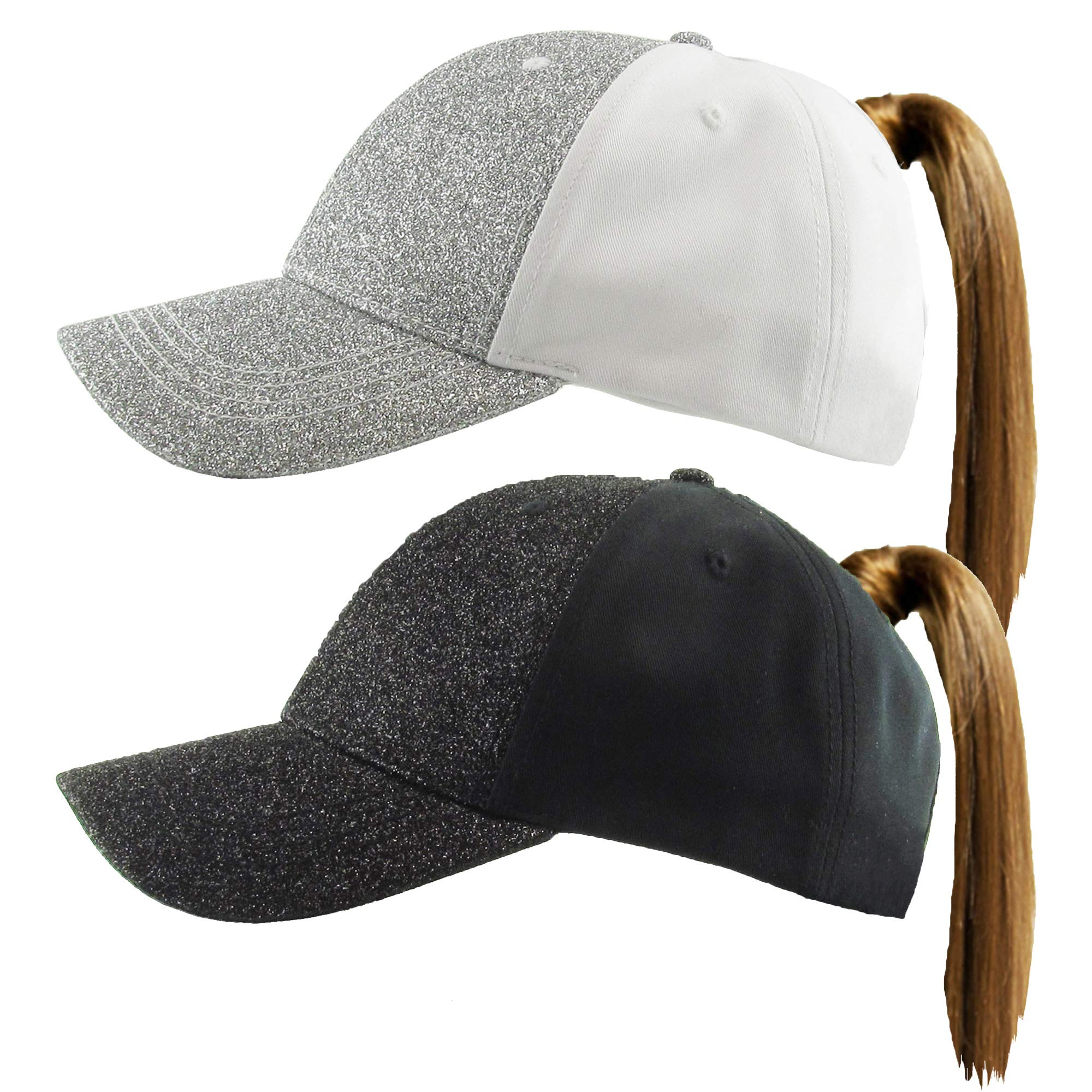 H-216-2-GS0106 GLITTER Ponycap 2-Pack: Solid Silver & Black