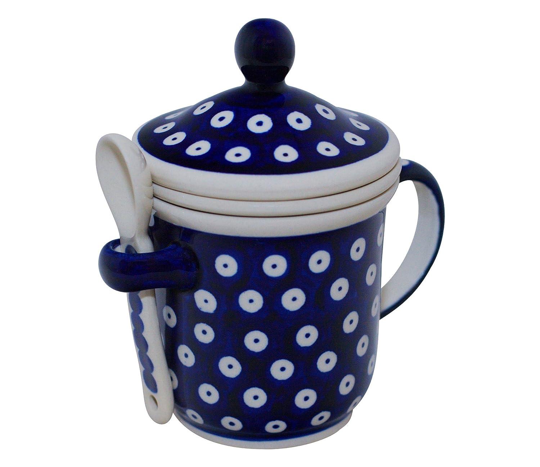Bunzlauer Keramik Teebecher mit Deckel+Teesieb+Löffel Dekor 111 Teetasse Orig