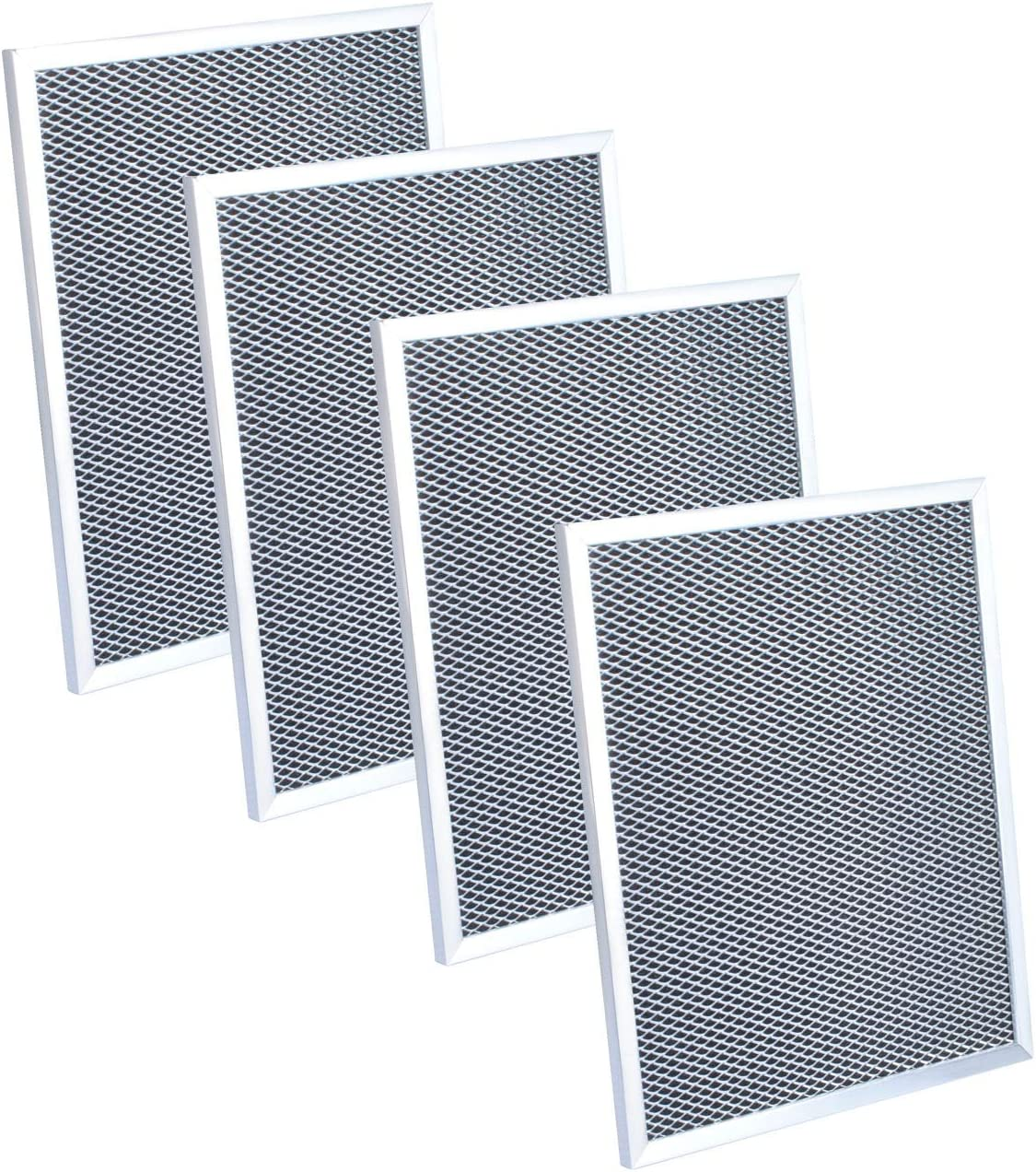 """97007696 Range Hood Charcoal Filter for Broan 6105C, 97005687, 97007576, 99010123, C-6105 Replacement Filter 8-3/4"""" x 10-1/2"""" x 3/8"""" (4 Pack)"""